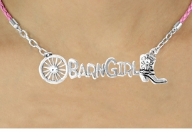 """<BR>                     EXCLUSIVELY OURS!!<Br>               AN ALLAN ROBIN DESIGN!!<bR>                    LEAD & NICKEL FREE!!<Br>      W16354N - WESTERN """"BARN GIRL""""<Br>    MARQUEE PENDANT & PINK BRAIDED<Br>NECKLACE FROM $8.44 TO $18.75 ©2010"""