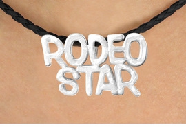 "<BR>                     EXCLUSIVELY OURS!!<Br>               AN ALLAN ROBIN DESIGN!!<bR>                    LEAD & NICKEL FREE!!<Br>   W16371N - ""RODEO STAR"" MARQUEE<Br>PENDANT & BLACK BRAIDED NECKLACE<Br>          FROM $4.50 TO $10.00 ©2010"