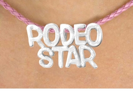 "<BR>                  EXCLUSIVELY OURS!!<Br>            AN ALLAN ROBIN DESIGN!!<bR>                 LEAD & NICKEL FREE!!<Br>W16372N - ""RODEO STAR"" MARQUEE<Br>PENDANT & PINK BRAIDED NECKLACE<Br>        FROM $4.50 TO $10.00 ©2010"