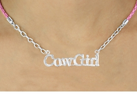 "<BR>                   EXCLUSIVELY OURS!!<Br>             AN ALLAN ROBIN DESIGN!!<bR>                  LEAD & NICKEL FREE!!<Br>    W16378N - ""COWGIRL"" MARQUEE<Br>PENDANT & PINK BRAIDED NECKLACE<Br>         FROM $5.63 TO $12.50 ©2010"