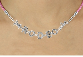 "<BR>                EXCLUSIVELY OURS!!<Br>          AN ALLAN ROBIN DESIGN!!<bR>               LEAD & NICKEL FREE!!<Br>     W16389N - ""RODEO"" WESTERN<Br>LETTERED PINK BRAIDED NECKLACE<Br>     FROM $10.13 TO $22.50 ©2010"