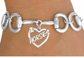"<Br>              EXCLUSIVELY OURS!!<Br>        AN ALLAN ROBIN DESIGN!!<Br>             LEAD & NICKEL FREE!!<Br>  W16393B - BIT-LINK BRACELET<Br>& ""I LOVE HORSES"" CHARM FROM<Br>            $7.85 TO $17.50 ©2010"