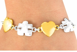 <bR>            EXCLUSIVELY OURS!!<Br>      AN ALLAN ROBIN DESIGN!!<Br>           LEAD & NICKEL FREE!!<Br> W16445B - TWO-TONE HEART<Br>& AUTISM AWARENESS PUZZLE<Br>         PIECE BRACELET ©2010<bR>          FROM $6.75 TO $15.00