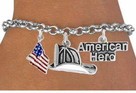 "<Br>                EXCLUSIVELY OURS!!<Br>          AN ALLAN ROBIN DESIGN!!<Br>               LEAD & NICKEL FREE!!<Br>   W17610B - ""AMERICAN HERO"" <br>FIREMAN THREE CHARM BRACELET <BR>            FROM $4.50 TO $10.00"