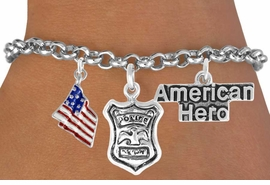"<Br>                EXCLUSIVELY OURS!!<Br>          AN ALLAN ROBIN DESIGN!!<Br>               LEAD & NICKEL FREE!!<Br>   W17611B - ""AMERICAN HERO"" <br>POLICE MAN THREE CHARM BRACELET <BR>            FROM $4.50 TO $10.00"