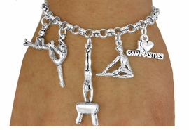<Br>                EXCLUSIVELY OURS!!<Br>          AN ALLAN ROBIN DESIGN!!<Br>               LEAD & NICKEL FREE!!<Br> W18041B - GYMNASTICS THEMED <BR>           FIVE CHARM BRACELET <br>       AS LOW AS $8.61