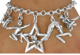 <Br>                EXCLUSIVELY OURS!!<Br>          AN ALLAN ROBIN DESIGN!!<Br>               LEAD & NICKEL FREE!!<Br> W18043B - GYMNASTICS THEMED <BR>           FIVE CHARM BRACELET <br>       AS LOW AS $8.61