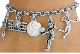 <Br>                EXCLUSIVELY OURS!!<Br>          AN ALLAN ROBIN DESIGN!!<Br>      LEAD, CADMIUM,  & NICKEL FREE!!<Br>   W18050B - VOLLEYBALL THEME FIVE<BR>CHARM BRACELET FROM $7.31 TO $16.25<BR>                                    �2011