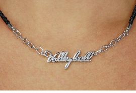 "<BR>                   EXCLUSIVELY OURS!!<Br>             AN ALLAN ROBIN DESIGN!!<bR>                  LEAD & NICKEL FREE!!<Br> W18736N - POLISHED SILVER ""VOLLEYBALL"" <Br>PENDANT & BLACK BRAIDED NECKLACE<Br>         FROM $6.75 TO $15.00©2011"