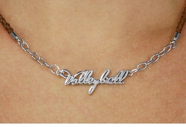 "<BR>                   EXCLUSIVELY OURS!!<Br>             AN ALLAN ROBIN DESIGN!!<bR>                  LEAD & NICKEL FREE!!<Br> W18737N - POLISHED SILVER ""VOLLEYBALL"" <Br>PENDANT & BROWN BRAIDED NECKLACE<Br>         FROM $6.75 TO $15.00 ©2011"