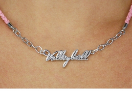 "<BR>                   EXCLUSIVELY OURS!!<Br>             AN ALLAN ROBIN DESIGN!!<bR>                  LEAD & NICKEL FREE!!<Br> W18738N - POLISHED SILVER ""VOLLEYBALL"" <Br>    PENDANT & PINK BRAIDED NECKLACE<Br>             FROM $6.75 TO $15.00 ©2011"