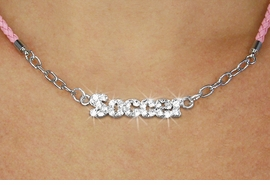 "<BR>                   EXCLUSIVELY OURS!!<Br>             AN ALLAN ROBIN DESIGN!!<bR>                  LEAD & NICKEL FREE!!<Br> W18848N - PAVE CRYSTAL ""SOCCER"" <Br>PENDANT & PINK BRAIDED NECKLACE<Br>         FROM $5.63 TO $12.50 ©2011"