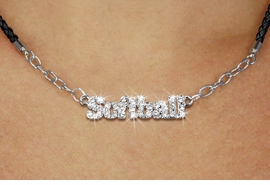 "<BR>                   EXCLUSIVELY OURS!!<Br>             AN ALLAN ROBIN DESIGN!!<bR>                  LEAD & NICKEL FREE!!<Br> W18851N - PAVE CRYSTAL ""SOFTBALL"" <Br>PENDANT & BLACK BRAIDED NECKLACE<Br>         FROM $5.63 TO $12.50 ©2011"