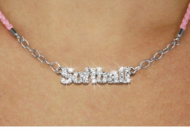"<BR>                   EXCLUSIVELY OURS!!<Br>             AN ALLAN ROBIN DESIGN!!<bR>                  LEAD & NICKEL FREE!!<Br> W18852N - PAVE CRYSTAL ""SOFTBALL"" <Br>PENDANT & PINK BRAIDED NECKLACE<Br>         FROM $5.63 TO $12.50 ©2011"
