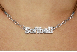 "<BR>                   EXCLUSIVELY OURS!!<Br>             AN ALLAN ROBIN DESIGN!!<bR>                  LEAD & NICKEL FREE!!<Br> W18853N - PAVE CRYSTAL ""SOFTBALL"" <Br>PENDANT & BROWN BRAIDED NECKLACE<Br>         FROM $5.63 TO $12.50 ©2011"