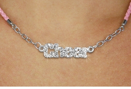 "<BR>                   EXCLUSIVELY OURS!!<Br>             AN ALLAN ROBIN DESIGN!!<bR>                  LEAD & NICKEL FREE!!<Br> W18856N - PAVE CRYSTAL ""CHEER"" <Br>PENDANT & PINK BRAIDED NECKLACE<Br>         FROM $5.63 TO $12.50 ©2011"
