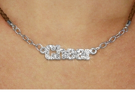 "<BR>                   EXCLUSIVELY OURS!!<Br>             AN ALLAN ROBIN DESIGN!!<bR>                  LEAD & NICKEL FREE!!<Br> W18857N - PAVE CRYSTAL ""CHEER"" <Br>PENDANT & BROWN BRAIDED NECKLACE<Br>         FROM $5.63 TO $12.50 ©2011"