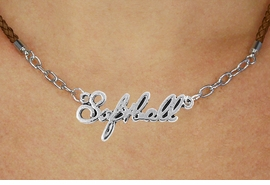 "<BR>                   EXCLUSIVELY OURS!!<Br>             AN ALLAN ROBIN DESIGN!!<bR>                  LEAD & NICKEL FREE!!<Br> W18908N - POLISHED SILVER ""SOFTBALL"" <Br>    PENDANT & BROWN BRAIDED NECKLACE<Br>             FROM $6.75 TO $15.00 ©2011"