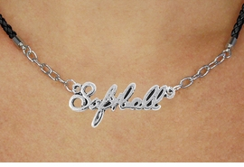 "<BR>                   EXCLUSIVELY OURS!!<Br>             AN ALLAN ROBIN DESIGN!!<bR>                  LEAD & NICKEL FREE!!<Br> W18909N - POLISHED SILVER ""SOFTBALL"" <Br>    PENDANT & BLACK BRAIDED NECKLACE<Br>             FROM $6.75 TO $15.00 ©2011"