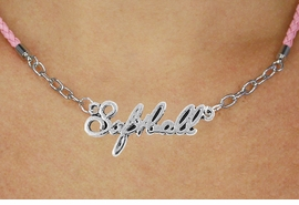 "<BR>                   EXCLUSIVELY OURS!!<Br>             AN ALLAN ROBIN DESIGN!!<bR>                  LEAD & NICKEL FREE!!<Br> W18910N - POLISHED SILVER ""SOFTBALL"" <Br>    PENDANT & PINK BRAIDED NECKLACE<Br>             FROM $6.75 TO $15.00 ©2011"