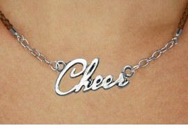 "<BR>                   EXCLUSIVELY OURS!!<Br>             AN ALLAN ROBIN DESIGN!!<bR>                  LEAD & NICKEL FREE!!<Br> W18916N - POLISHED SILVER ""CHEER"" <Br>    PENDANT & BROWN BRAIDED NECKLACE<Br>             FROM $6.75 TO $15.00 ©2011"