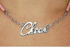 "<BR>                   EXCLUSIVELY OURS!!<Br>             AN ALLAN ROBIN DESIGN!!<bR>                  LEAD & NICKEL FREE!!<Br> W18917N - POLISHED SILVER ""CHEER"" <Br>    PENDANT & PINK BRAIDED NECKLACE<Br>             FROM $6.75 TO $15.00 ©2011"