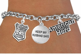 "<Br>                    EXCLUSIVELY OURS!!<Br>              AN ALLAN ROBIN DESIGN!!<Br>                   LEAD & NICKEL FREE!!<Br>W19298B - ""AMERICAN HERO"" POLICE BADGE <br>               ""KEEP MY HUSBAND SAFE""<br>               THREE CHARM BRACELET <BR>                 FROM $4.50 TO $10.00"