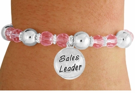 "<bR>                 EXCLUSIVELY OURS!!<BR>           AN ALLAN ROBIN DESIGN!!<BR>               LEAD & NICKEL FREE!!<BR>       W19303B - SILVER TONE SALES<BR>     MOTIVATIONAL  ""SALES LEADER"" <BR>CHARM ON PINK CRYSTAL BRACELET <BR>        FROM $5.06 TO $11.25 �2012"