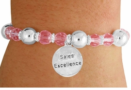 "<bR>                 EXCLUSIVELY OURS!!<BR>           AN ALLAN ROBIN DESIGN!!<BR>               LEAD & NICKEL FREE!!<BR>       W19304B - SILVER TONE SALES<BR> MOTIVATIONAL  ""SALES EXCELLENCE"" <BR>CHARM ON PINK CRYSTAL BRACELET <BR>        FROM $5.06 TO $11.25 �2012"