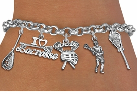 <Br>              EXCLUSIVELY OURS!!<Br>        AN ALLAN ROBIN DESIGN!!<Br>             LEAD & NICKEL FREE!! <Br>W19326B - SILVER TONE LACROSSE <BR>    THEME FIVE CHARM BRACELET <BR>     FROM $7.31 TO $16.25  �2012
