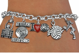 <Br>              EXCLUSIVELY OURS!!<Br>        AN ALLAN ROBIN DESIGN!!<Br>        CADMIUM, & NICKEL FREE!! <Br>W19329B - SILVER TONE VOLLEYBALL<BR>    THEME FIVE CHARM BRACELET <BR>     FROM $7.31 TO $16.25  �2012