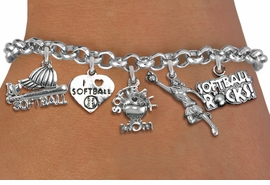 <Br>              EXCLUSIVELY OURS!!<Br>        AN ALLAN ROBIN DESIGN!!<Br>             LEAD & NICKEL FREE!! <Br>W19366B - SILVER TONE SOFTBALL <BR>MOM THEMED FIVE CHARM BRACELET <BR>     FROM $7.31 TO $16.25  �2012