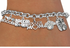 <Br>              EXCLUSIVELY OURS!!<Br>        AN ALLAN ROBIN DESIGN!!<Br>    LEAD, CADMIUM, & NICKEL FREE!! <Br>W19368B - SILVER TONE SOCCER <BR>MOM THEMED FIVE CHARM BRACELET <BR>     FROM $7.31 TO $16.25  �2012