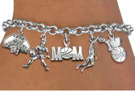 <Br>              EXCLUSIVELY OURS!!<Br>        AN ALLAN ROBIN DESIGN!!<Br>             LEAD & NICKEL FREE!! <Br>W19369B - SILVER TONE BASKETBALL <BR>MOM THEMED FIVE CHARM BRACELET <BR>     FROM $7.31 TO $16.25  �2012