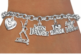 <Br>              EXCLUSIVELY OURS!!<Br>        AN ALLAN ROBIN DESIGN!!<Br>  LEAD, CADMIUM, & NICKEL FREE!! <Br>  W19372B - SILVER TONE DANCE <BR>THEMED FIVE CHARM BRACELET <BR>     FROM $7.31 TO $16.25  �2012