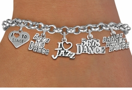 <Br> EXCLUSIVELY OURS!!<Br> AN ALLAN ROBIN DESIGN!!<Br> LEAD & NICKEL FREE!! <Br> W19373B - SILVER TONE <BR>DANCE THEMED FIVE <BR> CHARM BRACELET FOR $8.61