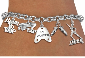 <Br>              EXCLUSIVELY OURS!!<Br>        AN ALLAN ROBIN DESIGN!!<Br>             LEAD & NICKEL FREE!! <Br>W19374B - SILVER TONE TAP DANCE <BR>THEMED FIVE CHARM BRACELET <BR>     FROM $7.31 TO $16.25  �2012