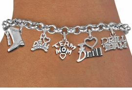 <Br> EXCLUSIVELY OURS!!<Br> AN ALLAN ROBIN DESIGN!!<Br> LEAD & NICKEL FREE!! <Br>W19375B - SILVER TONE DRILL <BR>TEAM MOM THEMED FIVE <BR> CHARM BRACELET FOR $8.61