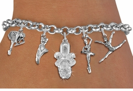 <Br>              EXCLUSIVELY OURS!!<Br>        AN ALLAN ROBIN DESIGN!!<Br>             LEAD & NICKEL FREE!! <Br>W19376B - SILVER TONE BALLET <BR> THEMED FIVE CHARM BRACELET <BR>     FOR $10.20