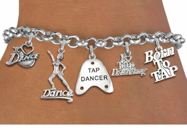 <Br> EXCLUSIVELY OURS!!<Br> AN ALLAN ROBIN DESIGN!!<Br> LEAD & NICKEL FREE!! <Br>W19381B - SILVER TONE TAP DANCE <BR> THEMED FIVE CHARM BRACELET <BR> FOR $8.61