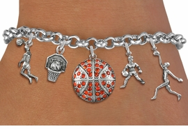 <Br>              EXCLUSIVELY OURS!!<Br>        AN ALLAN ROBIN DESIGN!!<Br>             LEAD & NICKEL FREE!! <Br>W19387B - SILVER TONE BASKETBALL <BR> THEMED FIVE CHARM BRACELET <BR>     FROM $8.66 TO $19.25  �2012