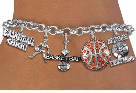 <Br>              EXCLUSIVELY OURS!!<Br>        AN ALLAN ROBIN DESIGN!!<Br>             LEAD & NICKEL FREE!! <Br>W19388B - SILVER TONE BASKETBALL <BR> THEMED FIVE CHARM BRACELET <BR>     FROM $8.66 TO $19.25  �2012