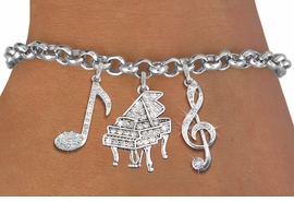 <Br>              EXCLUSIVELY OURS!!<Br>        AN ALLAN ROBIN DESIGN!!<Br>             LEAD & NICKEL FREE!! <Br>W19395B - GENUINE AUSTRIAN <BR>CRYSTAL AND SILVER TONE MUSIC <BR>  THEMED THREE CHARM BRACELET <BR>     FROM $9.56 TO $21.25  �2012