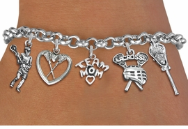 <Br>              EXCLUSIVELY OURS!!<Br>        AN ALLAN ROBIN DESIGN!!<Br>             LEAD & NICKEL FREE!! <Br>W19406B - SILVER TONE LACROSSE <BR>MOM THEMED FIVE CHARM BRACELET <BR>     FROM $7.31 TO $16.25  �2012
