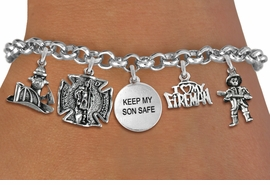 "<Br>              EXCLUSIVELY OURS!!<Br>        AN ALLAN ROBIN DESIGN!!<Br>             LEAD & NICKEL FREE!! <Br>W19411B - SILVER TONE FIRE FIGHTER <br>                     ""KEEP MY SON SAFE""<BR>     THEMED FIVE CHARM BRACELET <BR>     FROM $7.31 TO $16.25  �2012"