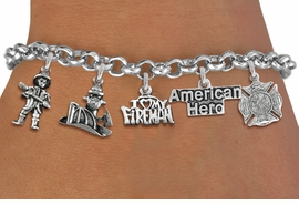 <Br>              EXCLUSIVELY OURS!!<Br>        AN ALLAN ROBIN DESIGN!!<Br>             LEAD & NICKEL FREE!! <Br>W19413B - SILVER TONE FIRE FIGHTER <BR>HERO THEMED FIVE CHARM BRACELET <BR>     FROM $7.31 TO $16.25  �2012