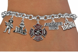 <Br>              EXCLUSIVELY OURS!!<Br>        AN ALLAN ROBIN DESIGN!!<Br>             LEAD & NICKEL FREE!! <Br>W19414B - SILVER TONE FIRE FIGHTER <BR>     THEMED FIVE CHARM BRACELET <BR>     FROM $9.00 TO $20.00  �2012