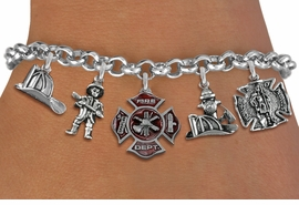 <Br>              EXCLUSIVELY OURS!!<Br>        AN ALLAN ROBIN DESIGN!!<Br>             LEAD & NICKEL FREE!! <Br>W19415B - SILVER TONE FIRE FIGHTER <BR>     THEMED FIVE CHARM BRACELET <BR>     FROM $9.00 TO $20.00  �2012
