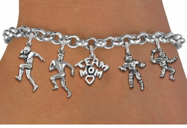 <Br>              EXCLUSIVELY OURS!!<Br>        AN ALLAN ROBIN DESIGN!!<Br>             LEAD & NICKEL FREE!! <Br>W19417B - SILVER TONE FOOTBALL <BR>MOM THEMED FIVE CHARM BRACELET <BR>     FROM $7.31 TO $16.25  �2012