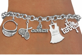 <Br>                 EXCLUSIVELY OURS!!<Br>           AN ALLAN ROBIN DESIGN!!<Br>    LEAD, CADMIUM, & NICKEL FREE!! <Br>     W19491B - SILVER TONE TENNIS <BR>     THEMED FIVECHARM BRACELET <BR>        FROM $7.31 TO $16.25  �2012